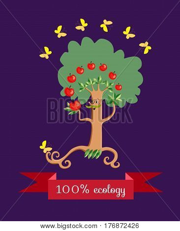 Cheerful apple - tree in form of a stylized mustachioed man juggling fruit on dark lilac background. Beautiful label with red banner and yellow butterflies. Vector illustration. Packaging design.