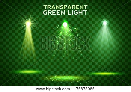 Transparent green lighy effects on a dark background. Spotlights, flare, explosion and stars. Vector