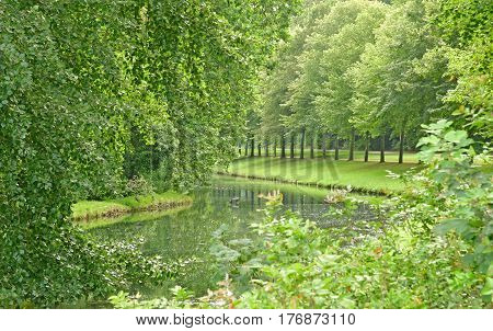 Chantilly France - august 14 2016 : park of the castle of Chantilly