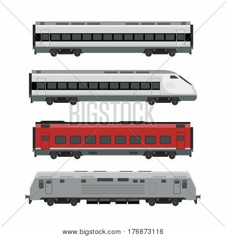 Trains on white background. Express Passenger train vector flat illustration.