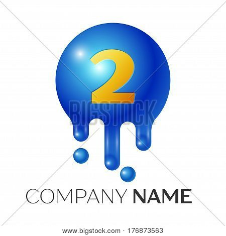 Number two splash logo. Blue dots and bubbles number design on grey background. Vector Illustration