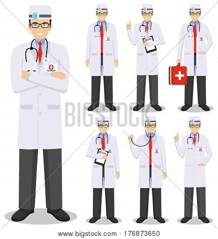 Detailed illustration of old american european medical people standing in different positions in flat style on white background.