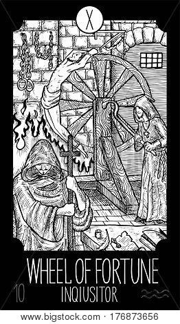 Wheel of fortune. 10 Major Arcana Tarot Card. Inquisitor. Fantasy engraved line art illustration. Engraved vector drawing. See all collection in my portfolio set