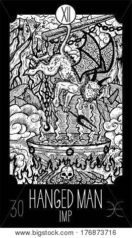Hanged Man.12 Major Arcana Tarot Card. Imp in hell. Fantasy engraved line art illustration. Engraved vector drawing. See all collection in my portfolio set