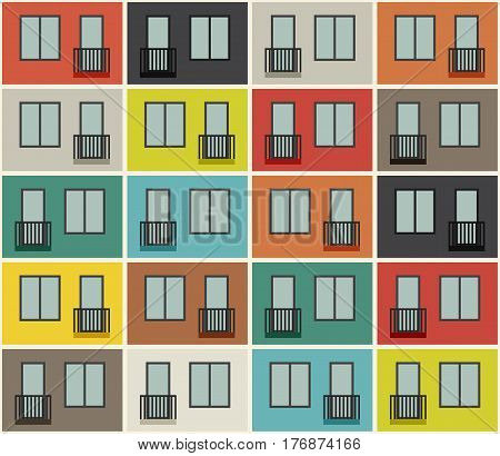 Apartment building facade seamless pattern. Vector background with windows and balconies.