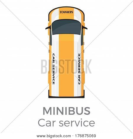 Minibus car service means of transportation isolated on white. Vector city transport icon, yellow school bus for delivering children to educational establishments, top view on bus in cartoon style