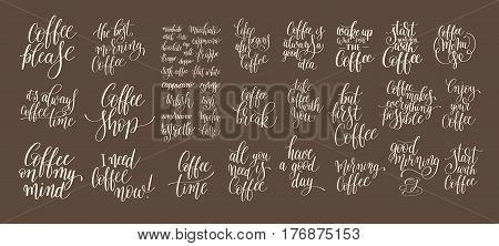 set of hand written lettering inscription design to coffee shop, menu, poster and printable wall art, calligraphy vector illustration collection