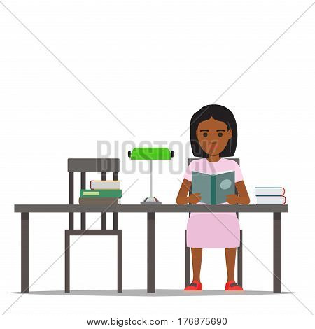 Young woman reading textbooks in library. African american student seating at the table with open book in hand isolated flat vector. Enthusiastic readers illustration for educational and hobby concept