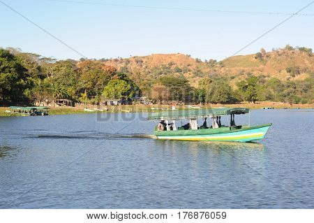 Suchitoto, El Salvador - 18 January 2014: Terra Colorada island on the lake of Suchitlan near Suchitoto on El Salvador