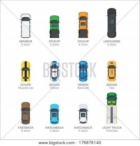 Modern cars top view icons set. Various passenger, emergency and cargo vehicles isolated flat vectors. Personal, public and commercial auto illustrations for urban transport concepts and infographics