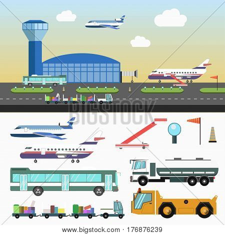 Airport infographic elements structure and special vehicles set on white. Vector illustration of landing and taking off passenger planes, kind of transport carrying pieces of luggages, control tower
