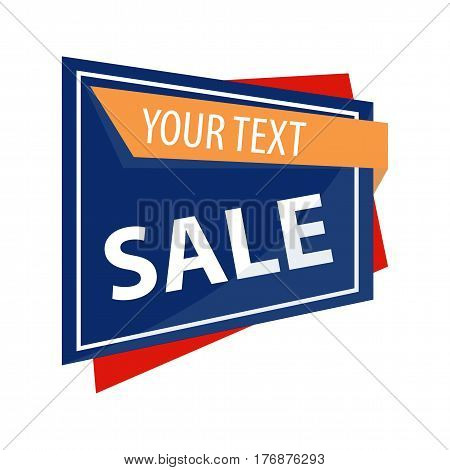 Sale promotion banner vector illustration. Your text can be here. Bright advertising discount signboard isolated on white background. Purchase food, clothes and household products by low prices.