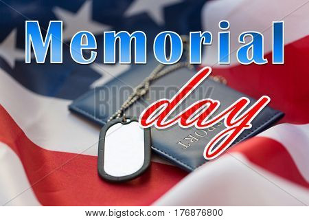 military forces, patriotism and national holidays concept - memorial day words over american flag, passport and soldiers badges