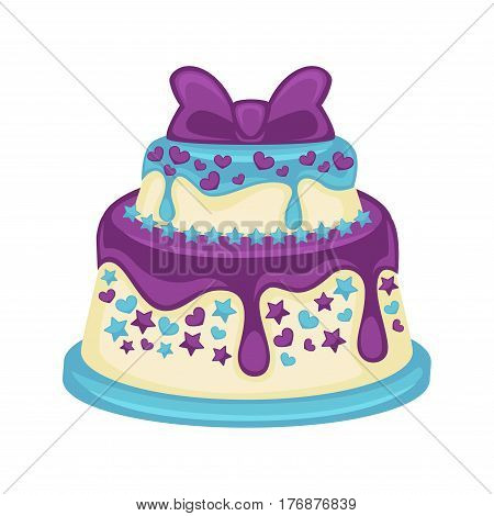 Festive two-tier cake with beautiful purple bow on white background. Sweet dessert with glaze streaks, small hearts and stars on blue substrate. Vector illustration of birthday or wedding pie