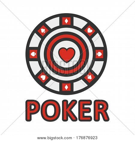 Sign of poker red and white chip flat design. Vector illustration of casino emblem with red heart in center and four playing suits isolated on white background with text. Cartoon style web banner.