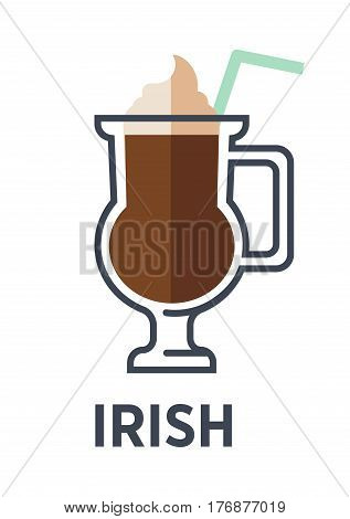 Irish isolated on white background. Cocktail consisting of hot coffee, whiskey and sugar, stirred and topped with thick cream. Brewed drink with straw. Minimalist vector illustration for cafes in flat style
