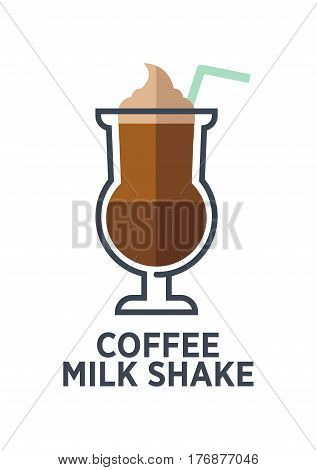 Coffee milk shake isolated on white background. Brewed drink with ice cream and straw. Minimalist vector illustration for cafes. Hot beverage with sweet freshness of vanilla icecream in flat style
