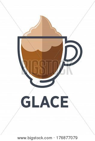 Glace coffee isolated on white background. Minimalist vector illustration for cofe shops and cafes. Hot drink with sweet freshness of vanilla ice cream with foam in transparent glass cup in flat style
