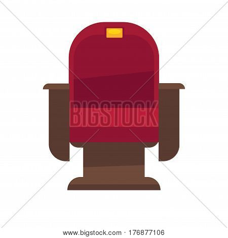 Comfortable armchair in cinema isolated on white. Red chair with gold plate under number and brown armrests for convenient viewing of film. Vector illustration of cinema chair with velvet lining