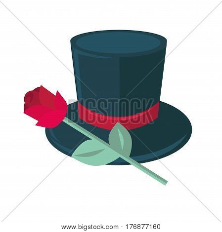 Black top hat and red rose isolated on white. Man tile with silk tape and beautiful flower with two green leaves. Vector illustration of gentleman cylinder cap, magic circus headwear symbol