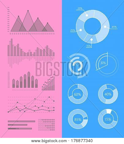 Set of graphic symbols for infographics. Statistic information presentation elements vector collection. Graphics peaks, curves fluctuations and column diagrams for business, social, political concepts