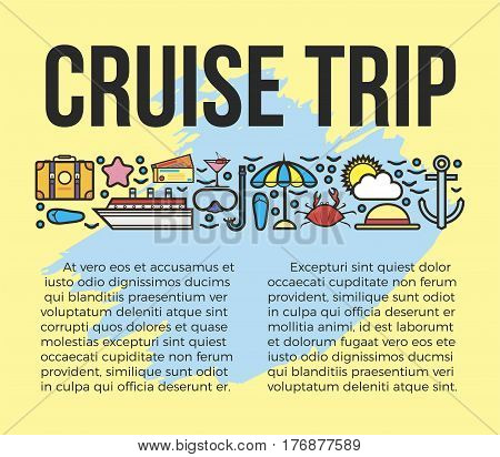 Cruise trip information list vector illustration. Sun bathes on deck and delicious seafood during voyage. Embark on dream cruise to get unforgettable experience. Travel by big liner or luxurious yacht.