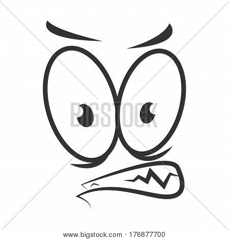 Angry emotion icon logo design in flat style. Simple wicked cartoon face in black and white colors. Bad-tempered graphic character vector illustration in line sketch. Unsatisfied expression symbol