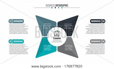 Business data visualization. Abstract flat elements of cycle diagram with 4 steps, parts or processes. Vector business template for presentation. Creative concept for infographic. Process chart.