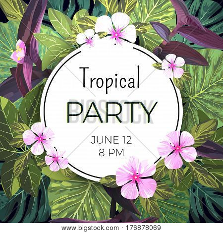 Customizable floral design template for summer party. Tropical flyer with pink and purple exotic flowers and green palm leaves, vector illustration.