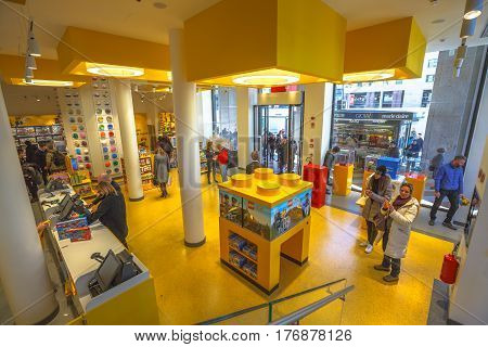 MILAN, ITALY- MARCH 7, 2017: ground floor interior of the famous toy store of Milano, Lego bricks. In Piazza San Babila square at the end of Corso Vittorio Emanuele II from Piazza Duomo square