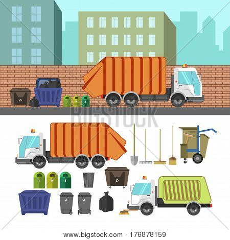 Process of cleaning garbage bins in urban residential area by using of rubbish truck and all equipments collection. Vector colorful poster of special means of transportation for gathering litters