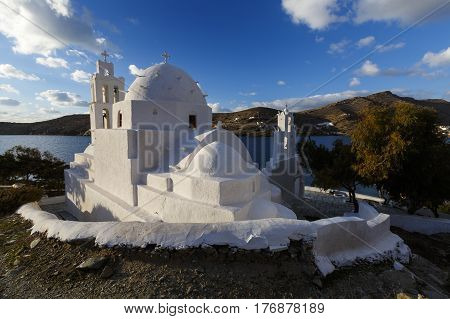 CHORA, GREECE- JANUARY 13, 2017: Church near the harbor of Ios island in Greece on January 13, 2017.