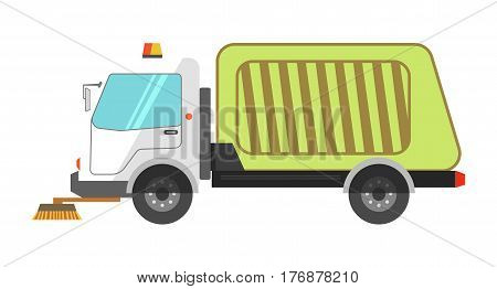 Machine cleans road garbage removal flat icon on white background. Worker truck with flashing lights, round brushes and big green body. Vector illustration for infographics, websites and app.