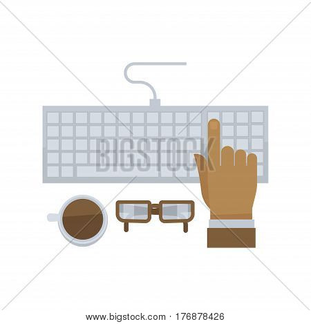 Man hand typing on computer keyboard isolated in flat design on white background. Shiny glasses and cup with coffee standing near gray fingerboard. Vector illustration in cartoon style web banner.