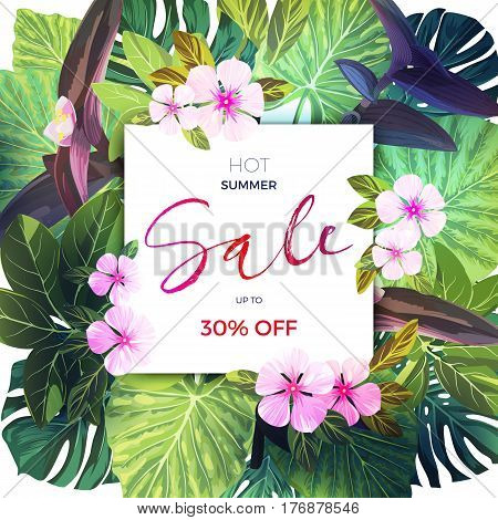 Summer tropical sale design with exotic palm leaves and pink flowers. Jungle floral template, vector illustration.