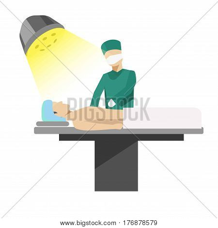 Operation process illustration with doctor and patient. Vector medical surgery concept vector picture in flat style. Hospital worker in uniform cures ill person in operation room on special table