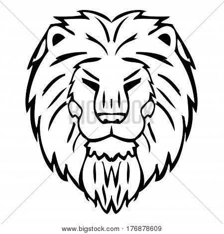 Big stylized lion head on a white background