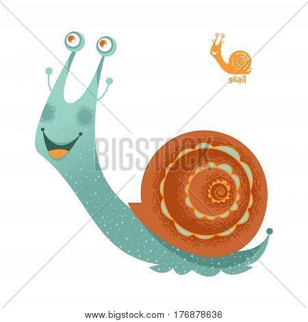 Colorful дittle garden smiling snail. Vector illustration
