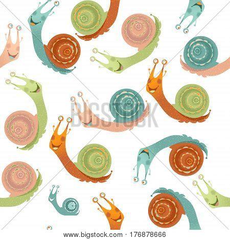 Colorful garden snails. Seamless background pattern. Vector illustration