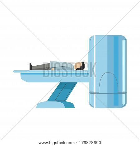 Male person lying on MRI machine isolated on white. Sick patient doing radiological examination on CN scan bed vector illustration in flat design. Medical cure template using modern equipments