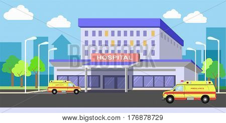 Urban hospital building exterior with ambulance vehicles on yard. Medical vector flat illustration with clinical system and its working process. Contemporary place for people treatment and therapy