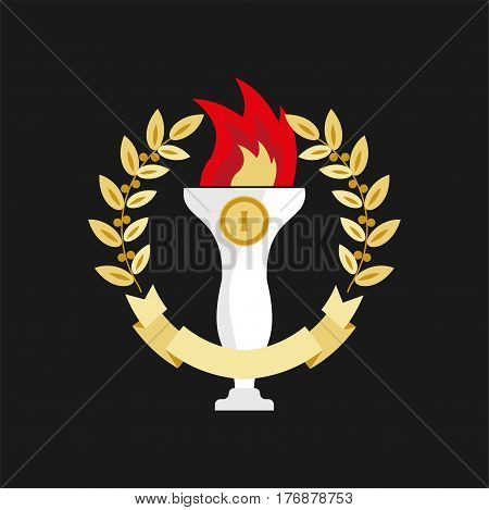 First place white trophy with burning red flame in round golden wreath on black background. Long winning award element isolated in circle of laurel leaves vector illustration in flat design.