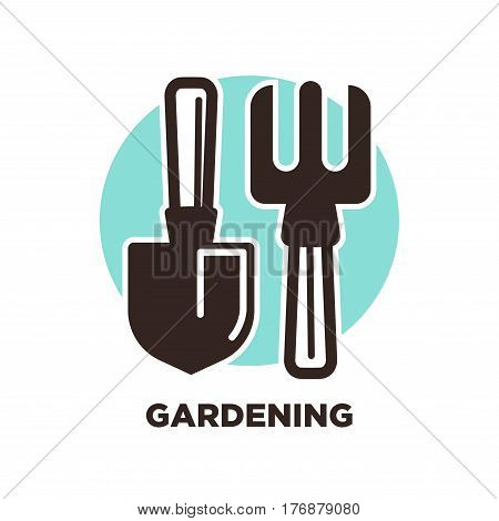 Gardening instruments spade and pitchfork isolated on white background. Agricultural equipment logo design on background of blue circle. Vector illustration of handwork garden tools, labor utensils