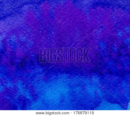 Hand Drawn Indigo Blue Watercolor Abstract Paint Texture With Dots. Raster Background.