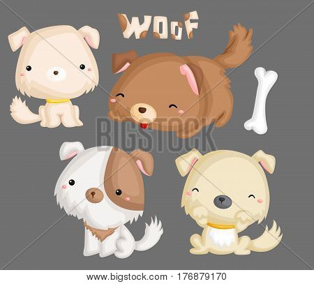 a cute puppies and bone in many colors