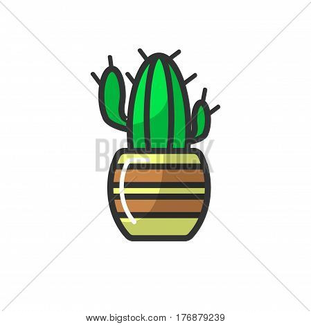 Mexican cactus in striped pot isolated on white background. Green dessert plant in flowerpot, home decoration element with sharp needles, vector illustration in flat style design, icon of houseplant