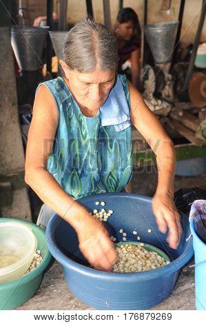Woman Knead Corn For Tortilla Paste At Suchitoto