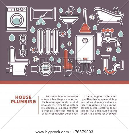 House plumbing web banner for promotion repair services. Vector illustration of plumber elements isolated on white background. Bathroom equipment advertisement logotype in flat style design