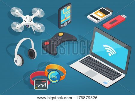 Set of modern wireless technology on blue background. Vector illustration of headphones, black joystick, notebook with wi-fi, flying drone, gps navigation on smartphone, two usb and two smart watches.