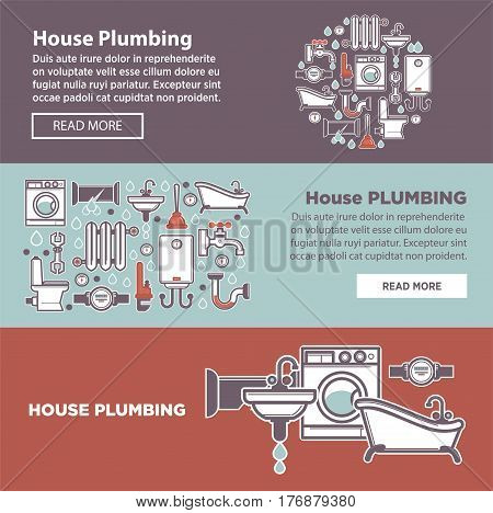 House plambing internet page vector illustrations. Get information about possible services for bathroom. Sanitary ware repair firm promotion. Call plumber to equip bathroom, kitchen and all house.